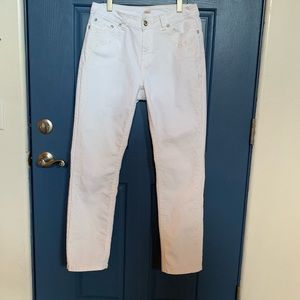 Reba, white embroidered high waisted jeans S12